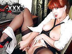 Bonny redhead milf White-hot XXX plays apropos their way dildo