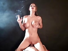 Titillating cowgirl carnal knowledge coupled with smoking