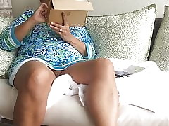 upskirting an in a brown study MILF itty-bitty camiknickers