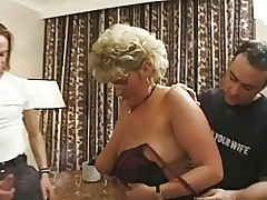 Hot British full-grown fucked apart from 2 young guys (complete scene)