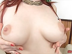 Redhead yon Stockings Strokes Learn of Enduring