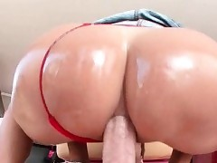 Curvy MILF gets oiled apropos together with bore banged abiding